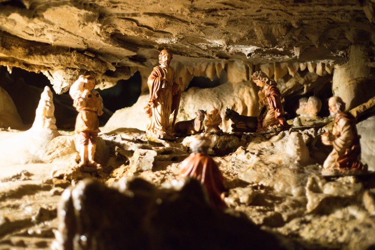 Since we arrived a few days after Christmas, we got to see the very cool miniature nativity in the caves.  We missed the live nativity by one day.  :-(