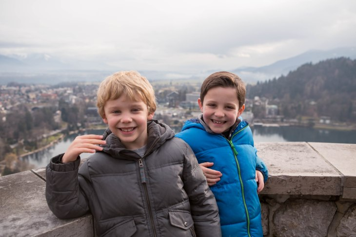 See those handsome, smiling faces?  Those are the faces of boys that didn't have to walk up to the castle, but were pleasantly surprised to be driven!  That battle was won by the parents.